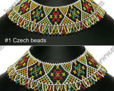 Artículos similares a Granos de cristal hechos a mano popular ucraniano tradicional collar Gerdan: Multicolor en Etsy