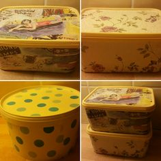 Decorate old plastic boxes for reusing ❤