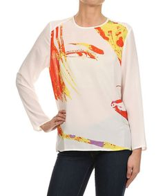 Look what I found on #zulily! White Abstract Top by Kokette #zulilyfinds