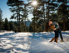 Mount Falcon Park Winter Engagement Session Dip Kiss Sun in Trees