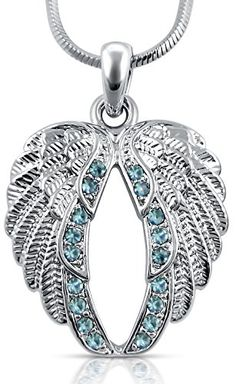 Light Blue Crystal Guardian Angel-Wings/Wing Silver Tone Necklace Gift for…