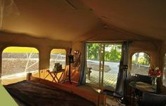 Zip-Lining Glamping Getaway on the Incredible Shore of Lake Erie, Ontario Luxury Yurt, Luxury Camping, King Or Queen Bed, Queen Beds, Ontario Travel, Site Restaurant, Tent Decorations, Canadian Travel, Enjoy Your Vacation