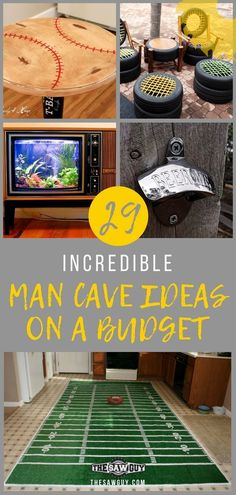 Check out these 29 cool man cave ideas on a budget, including sports man caves, musician caves, and other clever ideas for upcycling and. The post 29 Incredible Man Cave Ideas on a Budget & DIY Projects appeared first on Mack Makeovers. Man Cave Table, Man Cave Room, Man Cave Diy, Man Cave Basement, Man Cave Home Bar, Man Cave Garage, Man Cave Ideas Bedroom, Man Cave Ideas Small Room, Man Cave Pallet Ideas