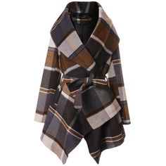 Chicwish Prairie Check Rabato Coat by Chic+ (€75) ❤ liked on Polyvore featuring outerwear, coats, jackets, coats & jackets, casacos, brown, checked coat, print coat, pattern coat and checkered coat