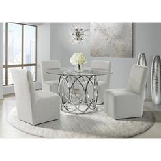 Shop for Picket House Furnishings Marcy Standard Height Dining Set. Get free delivery On EVERYTHING* Overstock - Your Online Furniture Shop! Best Dining, Round Dining Table, Drum Table, Round Tables, Kitchen Tables, Kitchen Ideas, Bar Furniture, Furniture Deals, Tempered Glass Table Top