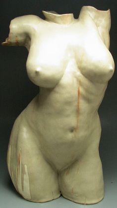 Ceramic Figure Sculpture, When It Rains, We Dance, Classical Nude Torso Indoor Outdoor. $1.800,00, via Etsy.
