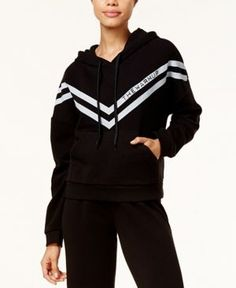 Jessica Simpson The Warm Up Chevron Logo Hoodie - Black XS
