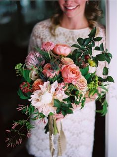 Bridal Bouquets and Wedding Flowers: Cascading Bouquet with Pink and Green