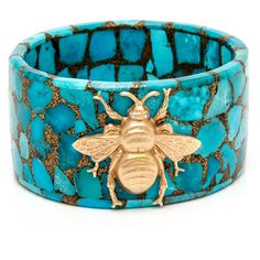 Turquoise Mosaic Bee Bangle (14.045 BRL) ❤ liked on Polyvore featuring jewelry, bracelets, mosaic jewelry, turquoise bangle, honey bee jewelry, turquoise blue jewellery and bangle jewelry