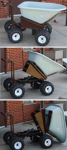 4 Wheel Power Drive and Dump Wheel Barrow - 8 Cubic Foot