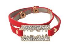Pave Razor Blade On Red Leather Bandhttp://www.endofretail.com #EOR #Jewelry #Sale