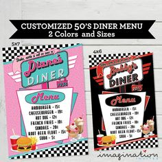 Diner Menu Cards Vintage Diner Food List Card Retro within Diner Menu Template - Hand Plane Goodness Template 1950 Diner, Vintage Diner, Retro Diner, Retro Birthday Parties, Birthday Party Places, 65th Birthday, 50th Party, Birthday Ideas, Diner Menu