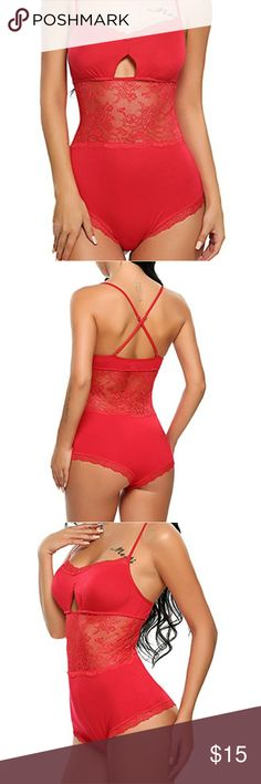 """Sexy Body Suit Lingerie New in Package made of Cotton and Lace. Stretchy material. It's very soft and comfortable, will make you more charming and fashion.One piece lingerie bodysuit sleepwear featuring lace trimmed detail, sheer lace pactchwork at waist part, and cross back adjustable spaghetti straps. The model is   5'74, Bust 36.2"""", Waist 23.6"""", Hip 35.8"""", she fits S.   Size is medium  Bust--33.9""""-36.2"""" Waist--29.5"""" Center Back Length--19.9"""" Intimates & Sleepwear Shapewear"""