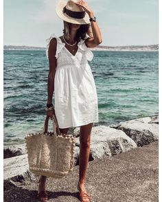 Fashion Lace V-neck Mini Dress Fashion Themes, Vacation Style, Online Purchase, Bag Accessories, Straw Bag, White Dress, Product Description, Lingerie, Instagram
