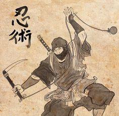A painting of a ninja with a kusarigama Samurai Art, Samurai Warrior, Japanese Artwork, Japanese Prints, Art Ninja, Ninja Japan, Ninja Training, Japanese Warrior, Japanese Folklore