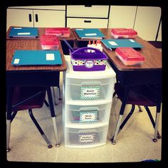 HOW TO SET UP A CLASSROOM~Student Seating This teacher positions four student desks around a plastic drawer set to house and organize student supplies.