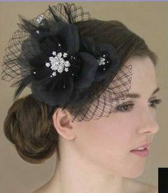 Black Feather Flower Fascinator with French Netting and Rhinestones