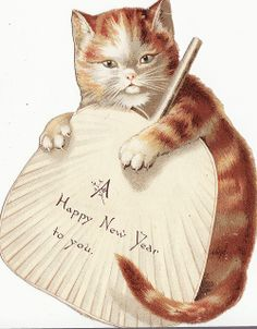 Vintage New Year Card - Cat & Hand Fan