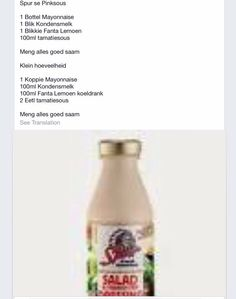 "Spur ""Pink"" Sauce South African Dishes, South African Recipes, Braai Recipes, Cooking Recipes, Pink Sauce, Kos, Salad Sauce, Salad Dressing Recipes, Homemade Sauce"