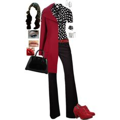 """""""Black, White & Red"""" by monicaprates on Polyvore"""