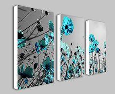 Teal Flowers Floral Split Panel Deep Framed Canvas Wall Art Print Picture | eBay