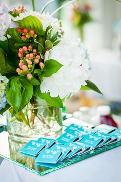 Wedding flowers and favors