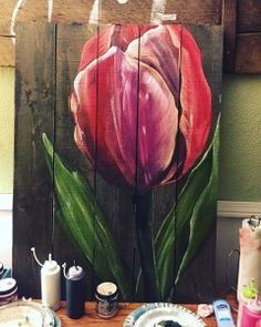 Blog – Prout Paint Pray~Artist Pallet Painting, Pallet Art, Painting On Wood, Fence Painting, Tulip Painting, Reclaimed Wood Art, Fence Art, Yard Art, Painting Inspiration