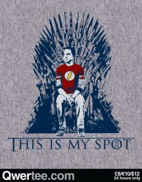 This Big Bang Theory poster from designer Nertee Designs is titled – This Is My Spot. It features Sheldon from The Big Bang Theory sitting on Iron throne! The Big Theory, Big Bang Theory Funny, Big Bang Theory Shirts, Big Bang Theory Quotes, Geek Wallpaper, Rock Poster, Movies And Series, Netflix Series, Geek Gear