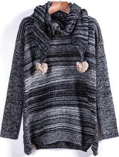 Black Long Sleeve Twisted Ball Sweater 21.67