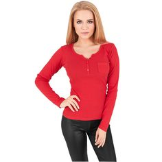 Urban Classics Ladies Rib Pocket Longsleeve Shirt ; in 3 verschiedenen Farben erhältlich.... #fashion #urbanclassics #streetwear #mode #basic #red http://www.rudestylz.de/ladies-rib-pocket.htm