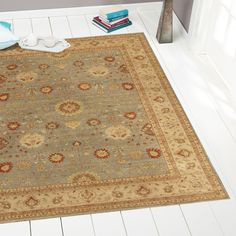 Rugsville Vegetable dyes Wool Light Blue Beige Rug 10303