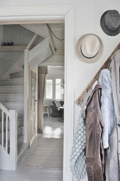 Picture Only- coat hook/hat hook going downstairs opposite of the handrail. Interior And Exterior, Interior Design, Shabby Home, Farmhouse Chic, White Farmhouse, Nantucket, New Room, Cottage Chic, Stairways
