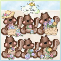 Little Squirrels Easter 1 - NE Cheryl Seslar Clip Art : Digi Web Studio, Clip Art, Printable Crafts & Digital Scrapbooking!
