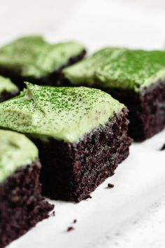 almond flour brownies with matcha mint frosting