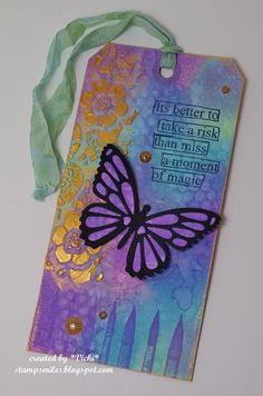 Just got my oxide inks and I wanted to have a play with them, so I made a tag including some of my favorite colors and a butterfly.  I have made this for the Cute Card Thursday challenge