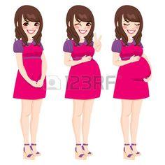Hermosa que muestra el proceso asi�tico mujer embarazada embarazo creciente que toca su vientre photo