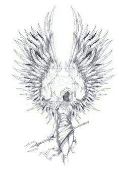 Guardian Angel Tattoo Design Drawings, Art Drawings Sketches, Tattoo Sketches, Tatoo Angel, Guardian Angel Tattoo, Death Angel Tattoo, Magic Tattoo, Demon Tattoo, Bild Tattoos