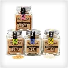 This cool new Island Sugar Set from Old Salt Merchants is a set of four gourmet tropical sugar blends made with organic cane sugar that are perfect for cocktails and mixed drinks, baking, grilling, sweetening coffee or tea, and more. Pineapple Bowl, Sugar Glass, Gifts For Your Boss, Gifts For Cooks, Spring Party, Natural Flavors, Sweet Life, Mixed Drinks, Baking Ingredients