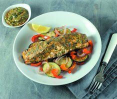 Roasted Salmon with Herb Sauce