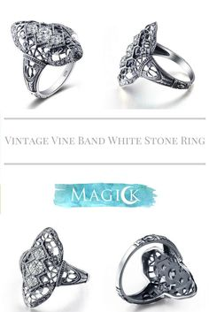 Vintage White Stone Shield Ring