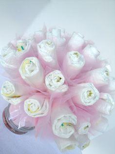 Diaper Cake Bouquet - Pink Baby Girl Diaper Bouquet Baby Shower Centerpiece - 40 Diapers
