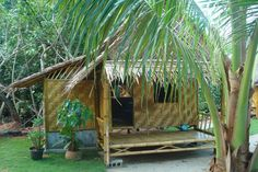 Our Bamboo Bungalows with Private Bathroom and Seaview Bamboo House Design, Small House Design, Bahay Kubo Design Philippines, 3 Storey House Design, Arched Cabin, Bamboo Building, Hut House, Treehouse Cabins, Bamboo Architecture