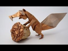 Origami Prehistoric Squirrel - Scrat (Fernando Gilgado) by Jo Nakashima. Origami And Kirigami, Origami Paper Art, Oragami, Dinosaur Origami, Origami Models, Origami Design, Origami Tutorial, Paper Folding, Prehistoric