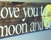 """Children's book quote """" Love you to the moon and back"""" reclaimed cedar wood sign, great for nursery"""