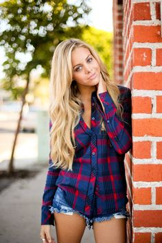 Long sleeve flannel and cut offs