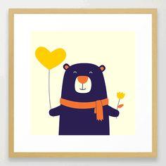 Purple Bear is Here Framed Art Print by cartoonbeing Kids Room Design, Framed Art Prints, Tweety, Room Ideas, Room Decor, Kawaii, Bear, Purple, Cute