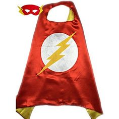 Superhero or Princess CAPE & MASK SET Kids Childrens Halloween Costume (Flash))