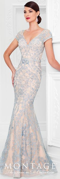 Formal Evening Gowns by Mon Cheri - Spring 2017 - Style No. 117D70 - nude & blue tulle and lace evening dress with cap sleeves and illusion back