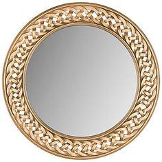 "Braided 24"" Frame Accent Mirror, Gold"
