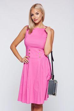 Comanda online, Rochie PrettyGirl roz casual in clos fara maneci. Articole masurate, calitate garantata!